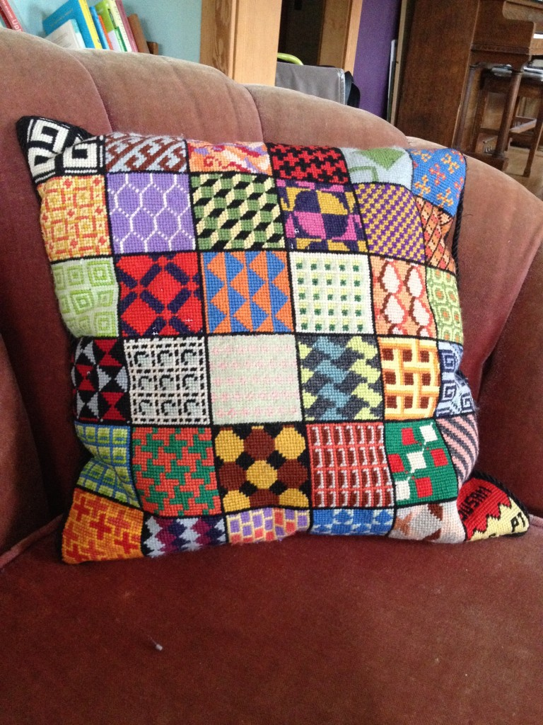 1972 patchwork pillow