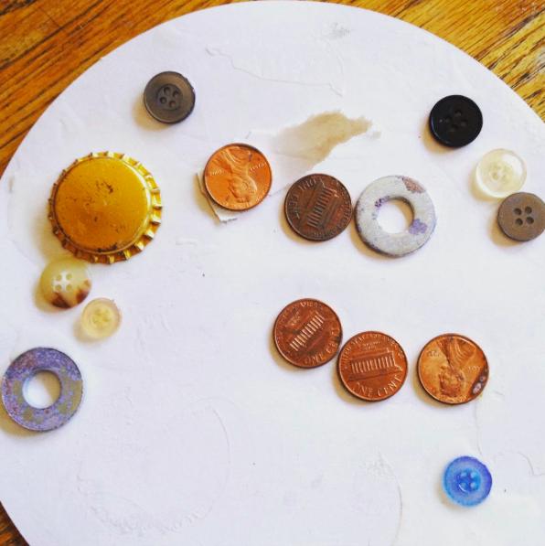 glued-on pennies
