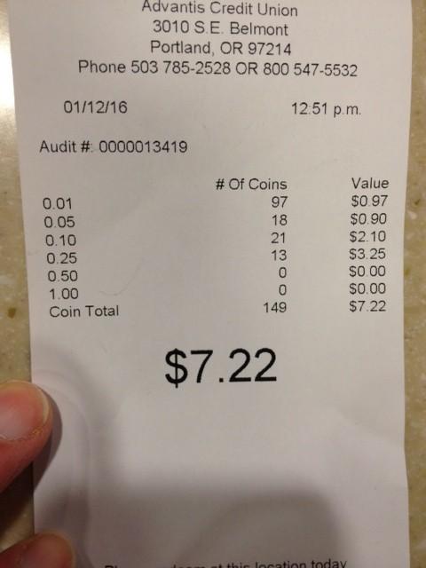 Coin receipt