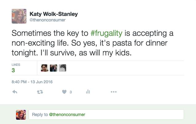 Frugality Tweet
