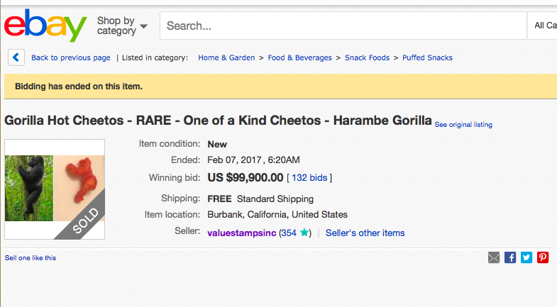 Why Did A Gorilla Shaped Cheeto Just Sell On Ebay For 99 900